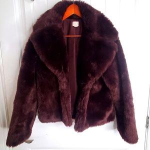 Faux Fur Burgandy Jacket